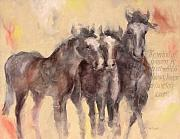 Beige Paintings - Through A Horses Ears by Ron Patterson