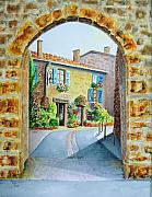Wine Country Watercolor Paintings - Through the Arch by Karen Fleschler