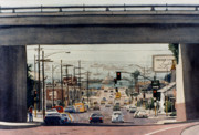 Highway Painting Posters - Through the Bridge on Hawthorn Poster by Mary Helmreich