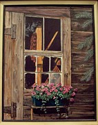 Cabin Window Painting Framed Prints - Through the Cabin Window Framed Print by Lynda  Lawrence