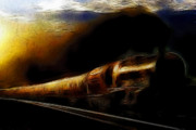 Steam Locomotives Digital Art Posters - Through The Dark of Night Rises The New Morning Glow . Such is the Life of The Old Engine Poster by Wingsdomain Art and Photography