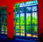 Garden Scene Digital Art Posters - Through the Garden Gate Poster by Christine S Zipps