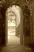 Walkway Digital Art - Through the Garden Gate in sepia by Suzanne Gaff