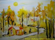 Landscape-like Art Paintings - Through the golden woods by Shubhankar Adhikari