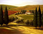 Napa Valley Vineyard Paintings - Through the Hills of Tuscany by Tim Howe