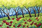 Poppies Field Painting Originals - Through The Meadows by Richard T Pranke