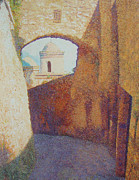 Pointillist Prints - through the Passageway Print by Catherine Bath