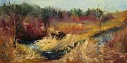 Wisconsin Landscape  Painting Originals - Through the Red Twigs by Wendie Thompson