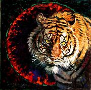 Bengal Tiger Framed Prints - Through the Ring of Fire Framed Print by John Lautermilch