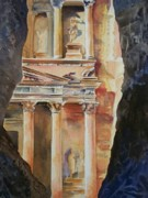 Petra Painting Framed Prints - Through the Siq Framed Print by Celene Terry