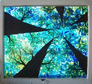 Recycled Glass Art Posters - Through the Trees Poster by Desiree Soule