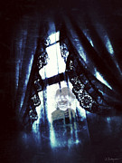 Haunted House  Digital Art Prints - Through the Window Print by Amanda Makepeace