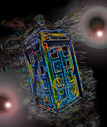 Tardis Digital Art - Through Time and Space by Rhonda Chase