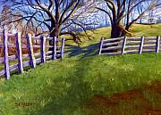 Pasture Pastels Framed Prints - Throught the Pasture Gate Framed Print by Sharon E Allen