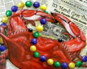 Louisiana Crawfish Art - Throw Me Somethin by JoAnn Wheeler