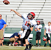 Throwing A Pass Print by Susan Leggett