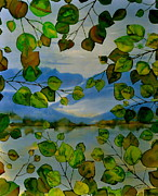 Batik Tapestries - Textiles Metal Prints - Thru The Aspen Metal Print by Carolyn Doe