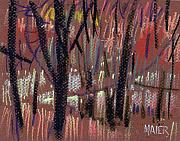 Abstract.trees Drawings Prints - Thru The Trees Print by Donald Maier