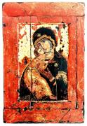 Russian Icon Painting Posters - ThThe Virgin Eleusa of Vladimir - 17 Century Poster by Evgeni  Andreev