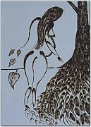 Woman Pyrography Originals - Thuja Woman by Patrick  Loafman