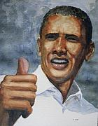 Barack Obama Paintings - Thumbs Up by Shirley Braithwaite Hunt
