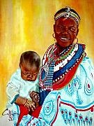Maasai Painting Originals - Thumthin Up by G Cuffia