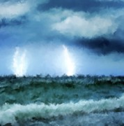 Haugesund Posters - Thunder and lightning at sea Poster by Michael Greenaway