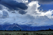 Thunderstorm Framed Prints - Thunder Clouds Dwarf Teton Range Framed Print by Gary Whitton