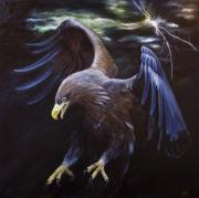 Yellow Beak Painting Posters - Thunder Poster by Julie Bond