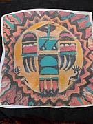 Power Tapestries - Textiles Prints - Thunderbird Throw Pillow Nice and soft Print by Anne-Elizabeth Whiteway