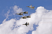 Usaf Metal Prints - Thunderbirds Solos Break Metal Print by Tim Mulina
