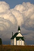 Country Church Prints - Thunderhead clouds forming behind a country church Print by Mark Duffy
