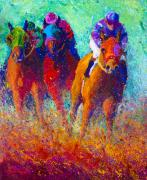 Horse Jumping Paintings - Thundering Hooves by Marion Rose