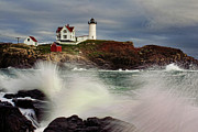 Nubble Lighthouse Prints - Thundering Tide Print by Rick Berk