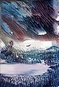 Storm Clouds Paintings - Thunderstorm by Alla Bechtold