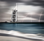 Editorial Posters - Thunderstorm and lightning on Dubai beach Poster by Anna Omelchenko