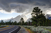 Nez Perce Prints - Thunderstorm on Grand Teton Road Print by Gary Whitton