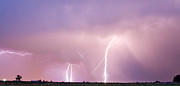 Lightning Bolts Posters - Thunderstorm on the Boulder County Plains Panorama Poster by James Bo Insogna