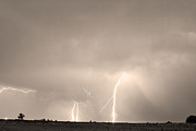 Lightning Storms Prints - Thunderstorm on the Plains BW Sepia Print by James Bo Insogna