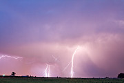 Images Lightning Prints - Thunderstorm on the Plains Print by James Bo Insogna