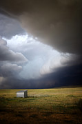 Dark Gray Blue Prints - Thunderstorm over the Plains Print by Ellen Lacey