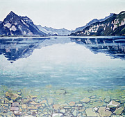 Natural Beauty Painting Framed Prints - Thunersee von Leissigen Framed Print by Ferdinand Hodler