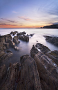 Sunset Scenes. Art - Thurlestone Rocks by Richard Garvey-Williams
