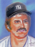 Baseball Pastels Posters - Thurman Munson Poster by Wj Bowers