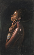 Black Art Pastels Prints - Tia Print by L Cooper