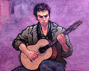 Guitarists Painting Originals - Tiago the Flamenco Guitarist by Roz McQuillan