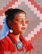 Southwest Indians Paintings - Tias Necklace by Lester Nielsen