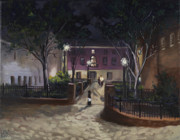 Edward Williams Art - Tiber Park at night by Edward Williams
