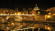 Cathedrals Prints - Tiber River and Ponte Vittorio Emanuele II bridge with St. Peters Basilica. Vatican City. Rome Print by Bernard Jaubert