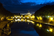 Tevere Prints - Tiber River at Night Print by George Oze
